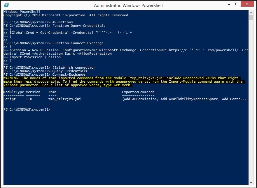 Manage Exchange 2013, using Power Shell, from a Remote or Workgroup PC.
